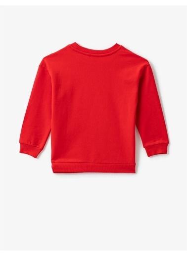 Koton Atatürk Baskili Bisiklet Yaka Pamuklu Sweatshirt Kırmızı